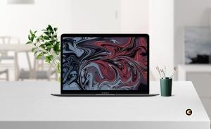 简约风办公环境超极本电脑屏幕预览样机 Laptop Mockup插图4