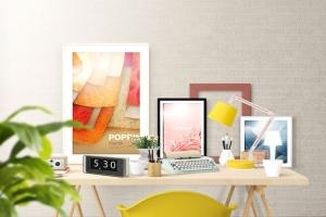 办公场景油画艺术品照片框架样机 Frame Creator Mockups插图8