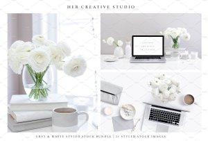 现代简约风格灰白配色场景模板 White & Grey Styled Stock Bundle插图3