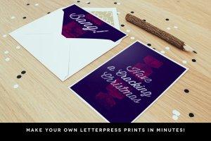 木版印刷图层样式设计工具包 WoodBlock Printing Press Kit插图4