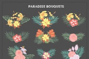 热带花卉和花束手绘插画素材 Paradise Flowers插图4