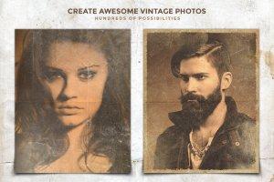 复古怀旧风格照片效果处理PSD图层 Vintage Photo Creator插图2