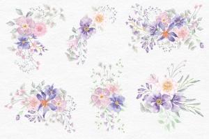 紫色梦幻水彩花卉图案设计素材包 Purple Dreams Watercolor Design Set插图5