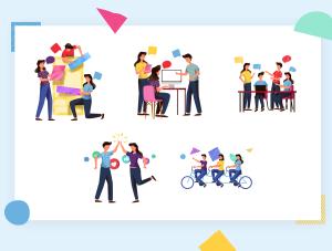 一流设计素材网下午茶:表现团队合作创意概念矢量插画素材下载[Ai]插图6