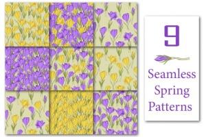 春天藏红花水彩插画设计素材 Crocus. Spring Flowers collection插图4