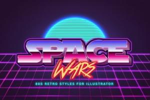 80年代复古插画风格PS字体样式 for AI 80s Retro Illustrator Styles插图4