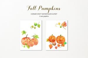水彩南瓜手绘插画剪贴画PNG素材 Watercolor Pumpkins Clipart插图3