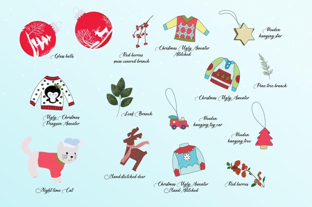 圣诞节主题手绘装饰元素设计素材 Christmas Decoration Elements插图