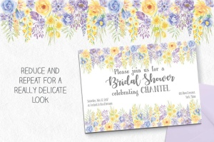 夏天花卉水彩手绘装饰框&设计元素PNG素材 Summer Flowers: Border and Elements in Watercolor插图4