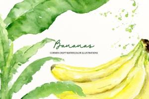 水彩香蕉&香蕉树手绘插画PNG素材 Watercolor Banana Illustration插图3