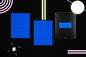 iPad Pro第三方设计屏幕预览样机模板 Neon iPad Pro Mockup插图12