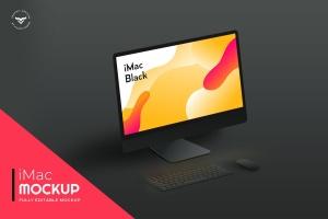 黑色背景iMac一体电脑桌面演示样机模板 iMac Mockups Black插图1