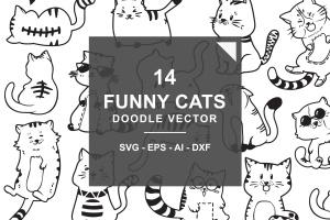 可爱有趣卡通猫涂鸦手绘矢量图案素材 Cute and Funny Cats Doodle Vector插图1