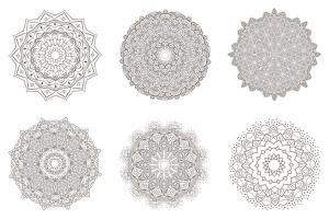 69种曼陀罗花矢量几何图形设计素材包 69 Vector Mandala – All Kinds of Complexity Set插图4