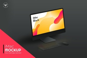 黑色背景iMac一体电脑桌面演示样机模板 iMac Mockups Black插图2