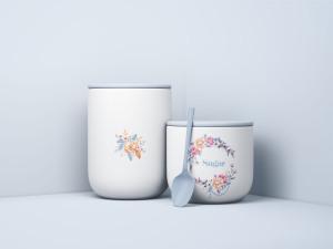 极简主义风食品储存罐样机模板 Minimal Jars with Spoon Mockup插图1