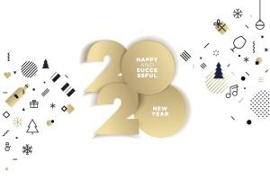 圣诞节&2020年新年主题创意数字矢量插画设计素材v5 Happy New Year 2020插图1