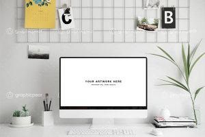 Mac台式电脑办公场景样机插图1