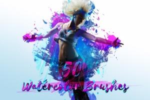 50款水彩手绘数码绘画PS笔刷合集 50 Watercolor Brushes插图1