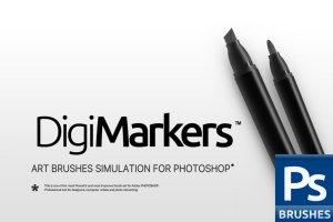 一组灵活简单方便的PS马克笔笔刷 RM Digi Markers插图1