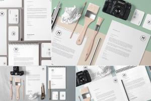 4组企业办公文具等距场景品牌样机套装 4 Stunning Stationery Mockups Set插图1