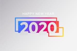 2020新年数字彩色矢量设计图形素材 2020 Happy New Year Greeting Card插图12