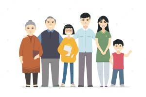 快乐中国家庭卡通人物矢量插画素材 Happy Chinese family – cartoon people characters插图2