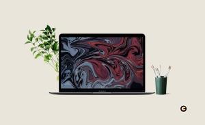 简约风办公环境超极本电脑屏幕预览样机 Laptop Mockup插图5