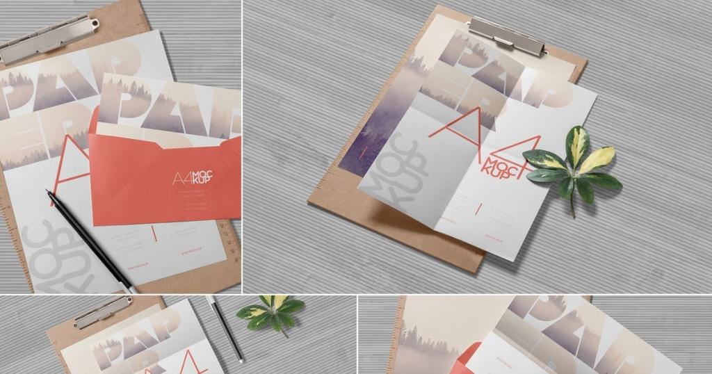 4个逼真A4规格企业信纸纸张设计样机 4 Realistic A4 Paper Mockups插图