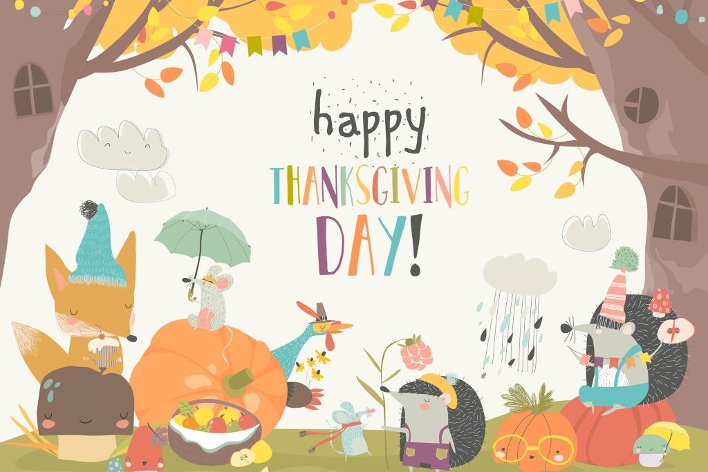 可爱动物感恩节庆祝活动矢量插画素材 Cute animals celebrating Thanksgiving day. Vector插图