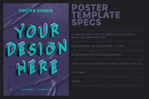 海报张贴效果图样式生成PS笔刷 Poster Studio for Photoshop插图5
