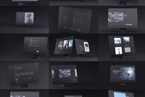 网站UI设计效果图预览黑色iMac电脑样机模板 Dark iMac Mockup插图1