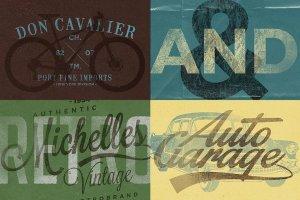 复古活版印刷文本图层样式 Vintage Letterpress Texture Effects插图2