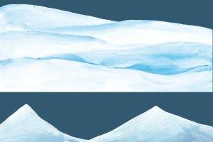 圣诞手绘水粉雪景-剪贴画  Snowy Landscape – clipart插图2