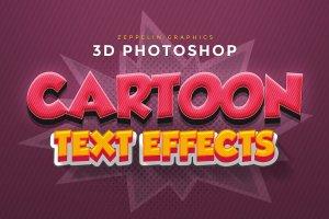 精美3D卡通文字特效PS字体样式 Cartoon Text Effects插图1