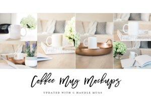 咖啡马克杯样机模板 Coffee Mug Mockup Stock Photo Bundle插图4