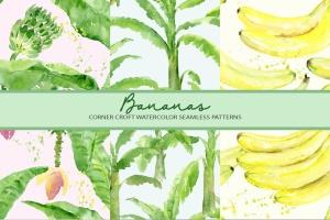 水彩香蕉&香蕉树手绘插画PNG素材 Watercolor Banana Illustration插图4