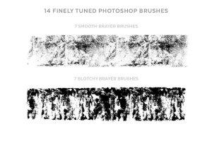 辊筒复印效果PS笔刷 Brayer Brush Kit插图2