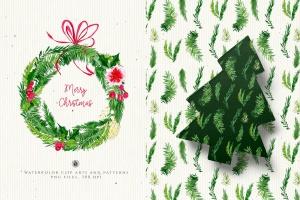 水彩手绘圣诞装饰元素PNG高清图片素材 Christmas Decorations插图1