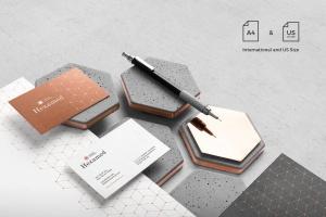 六边形图形设计品牌VI视觉设计效果图样机套件v1 Hexamed Branding Mockup插图3