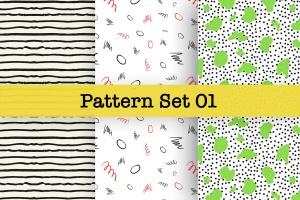 手绘图案矢量图案纹样设计素材v1 Hand-drawn Pattern Set 01插图2