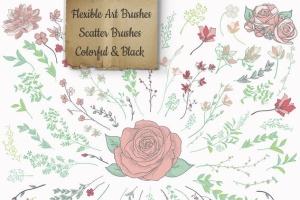 手绘花卉图案AI笔刷合集 Flexible Floral Brushes插图3