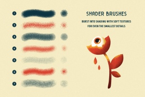 平板电脑手绘创造散点阴影效果处理Procreate笔刷下载 Shader Brushes for Procreate插图2