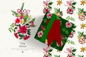 水彩手绘圣诞装饰元素PNG高清图片素材 Christmas Decorations插图3