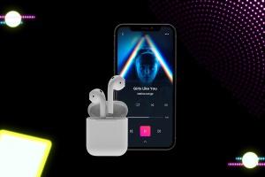 在线音乐APP设计效果图样机模板 Neon Music App MockUp插图3