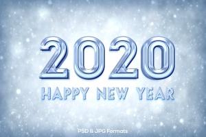 新年冰块效果字体设计PSD分层模板v1 New Year 2020 V1插图2