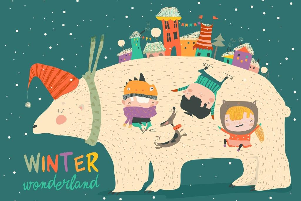 北极熊与小孩圣诞节主题矢量手绘设计素材 Cute kids celebrating Christmas with big polar bea插图