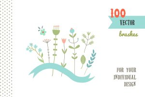 分享100个Illustrator装饰画笔 100 decor brushes for for AI插图1