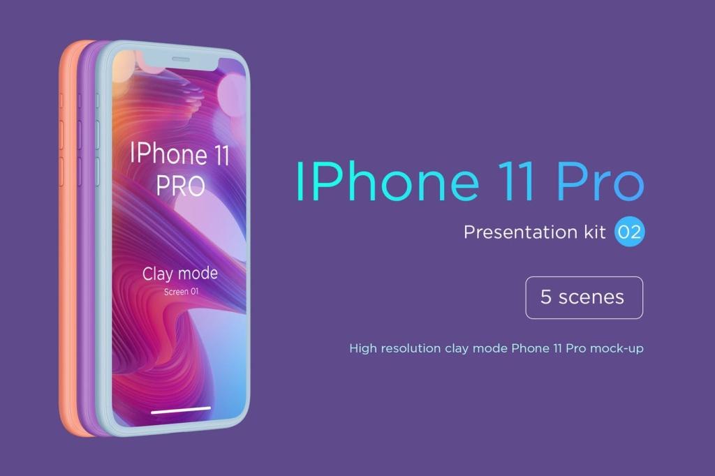 黏土陶瓷材质风格iPhone 11 Pro手机样机模板 IPhone 11 Pro Clay Mode Mockup插图