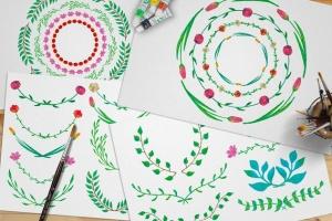 水彩花卉绘画图案&AI画笔笔刷 Illustrator Floral Art & Pattern Brushes插图(6)